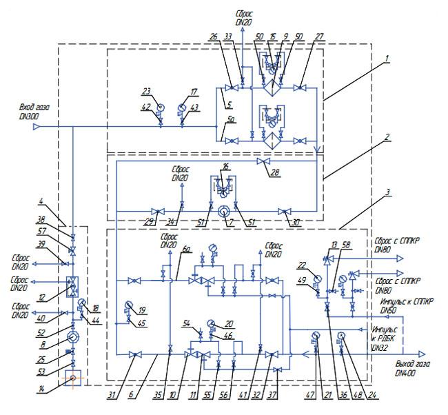 1 – узел очистки газа;
